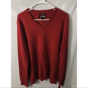 Apt 9 Red 100% Cashmere Sweater V-Neck Sz Large